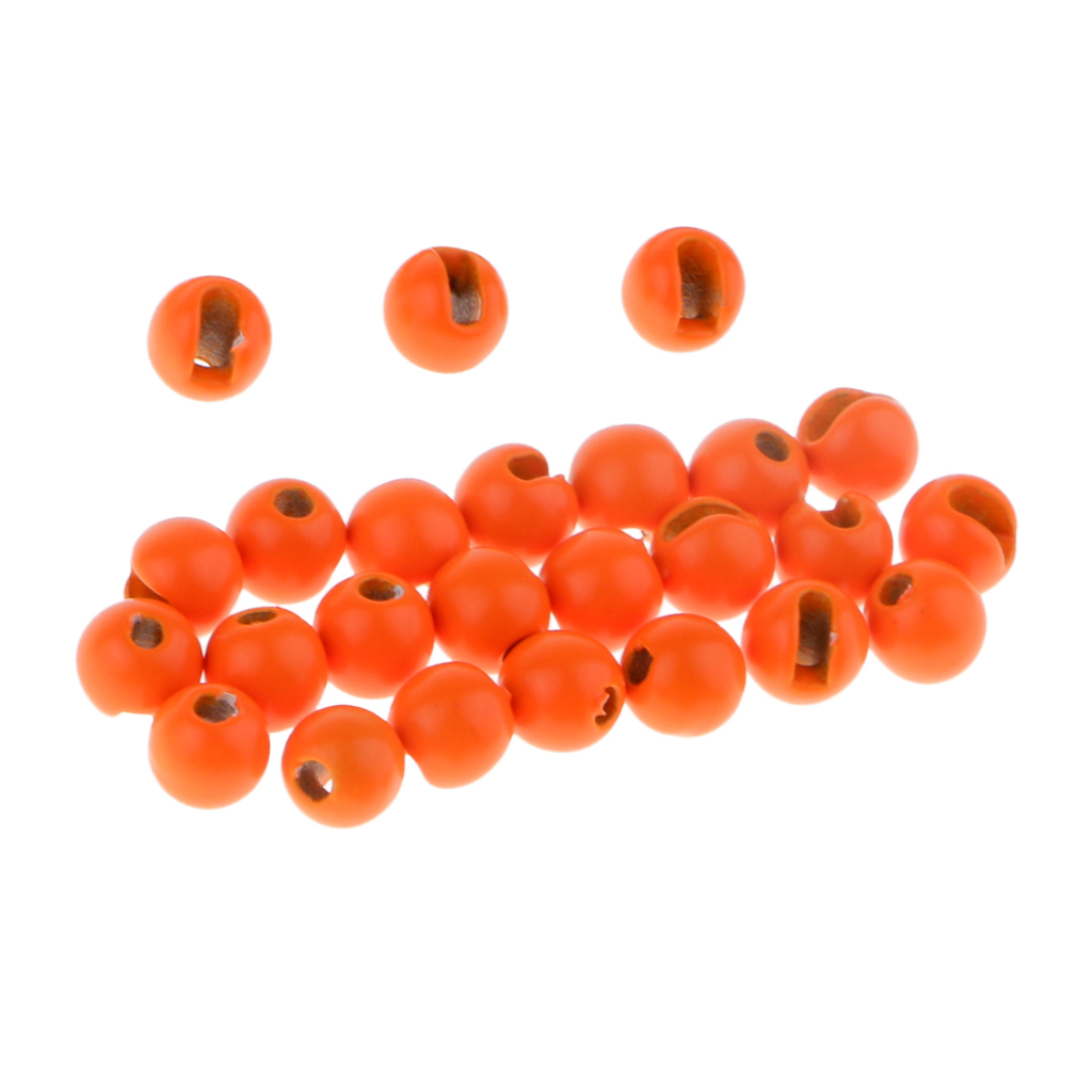 25pcs Slotted Tungsten Beads Heavy Nymph Bugs Head Beads Fly Tying Materials