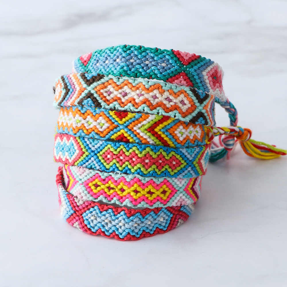 חדש בוהמיה סגנון כותנה בעבודת יד קסם צמיד & צמידי תכשיטים אתניים מתנות לארוג חבל ידידות צמידי עבור אישה גברים