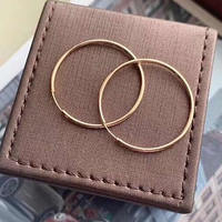 Pure 18K Rose Gold Earrings Women Big Circle Hoop Earrings