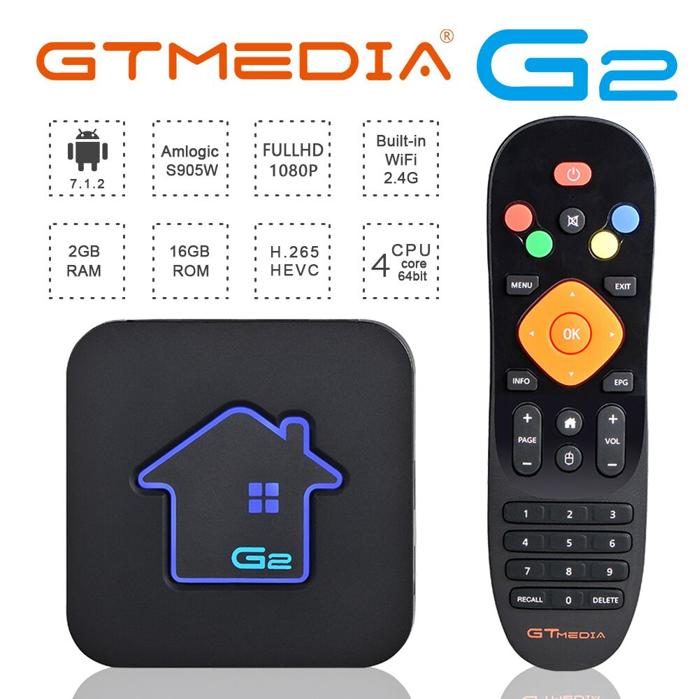 GTmedia Android 7.1 M3U Smart TV BOX Amlogic S905W 2GBRAM +16GBROM Set Top Box 4K HD H.265 2.4G Wifi Media Player M3U FR TV BOX