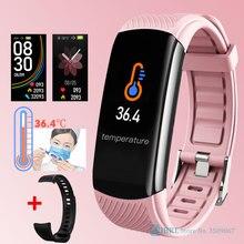 2020 جديد ساعة ذكية النساء الرجال درجة حرارة الجسم SmartWatch جهاز تعقب للياقة البدنية مراقب معدل ضربات القلب ساعة ذكية ل Andriod IOS