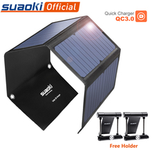 SUAOKI 28W נייד תאים סולריים מטען שמש אור QC 3.0 מהיר טעינה 3 USB 3.1A פלט נמל עבור iPhone iPad סמסונג Tablet