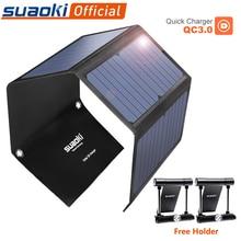SUAOKI 28W แบบพกพาโซลาเครื่องชาร์จเซลล์ Sun Light QC 3.0 ชาร์จ 3 USB 3.1A พอร์ตสำหรับ iPhone iPad Samsung แท็บเล็ต