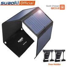 SUAOKI 28W Портативный солнечных батарей Зарядное устройство Защита от солнца светильник QC 3,0 быстрой зарядки с 3 портами (стандарт 3.1A Выход Порты и разъёмы для iPhone iPad samsung планшет