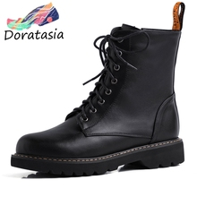 DORATASIA New Arrivals Hot Sale 2019 Lace Up Ankle Boots Women Shoes Woman Zip Casual Spring Autumn Female