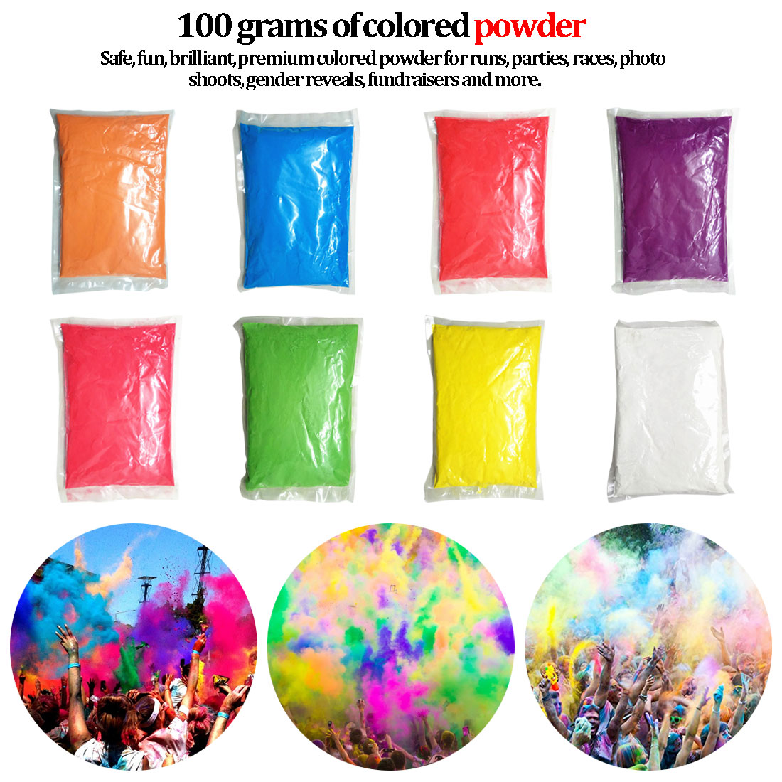 New 100g/bag Colored Powder For Holi Party Novelty Festival Toy Rainbow Running Powder Photobooth Props Solid Color