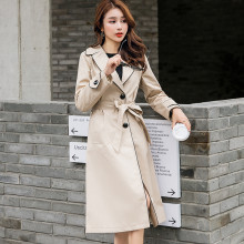 2020 new Spring Autumn Long Trench Coats Women's temperament waist khaki Outerwe