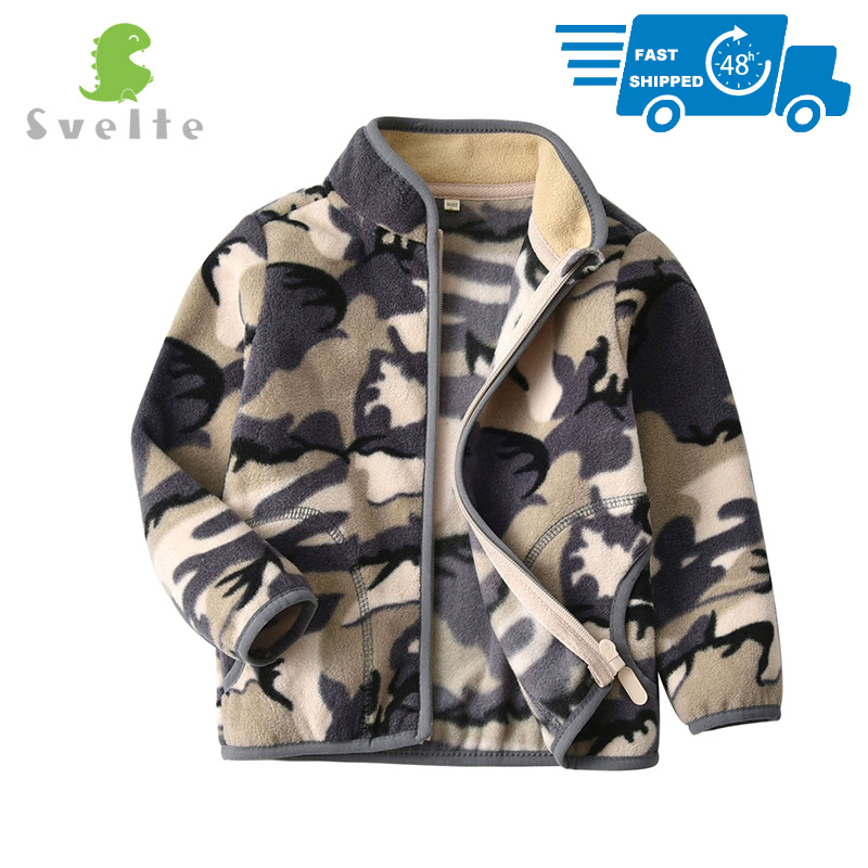 SVELTE for 2-10 Yrs Toddler and Young Boys' Full-zip Camo Polar Fleece Jacket Sweatshirt Outwear Children Clothing