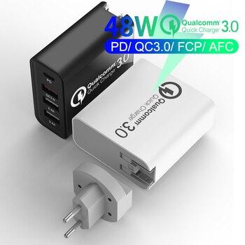 20V/3A 65W PD cargador para macbook apple xiaomi huawei FCP QC 4,0 3,0 de 4 puertos de carga rápida USB cargador de Adaptador 9V/2A US/EU
