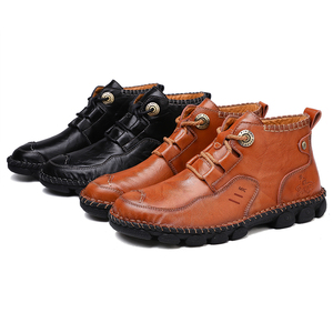 Image 3 - Mens Ankle Leather Boots 2019 Autumn Winter Men Shoes Quality Real Leather Men Vintage British Military Boots Plus Size 38 48