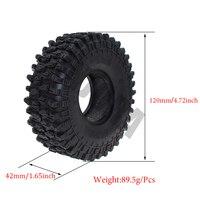 "4PCS 120MM 1.9"" Rubber Rocks Tyres / Wheel Tires for 1:10 RC Rock Crawler Axial SCX10 90046 AXI03007 D90 D110 TF2 Traxxas TRX-4 6"