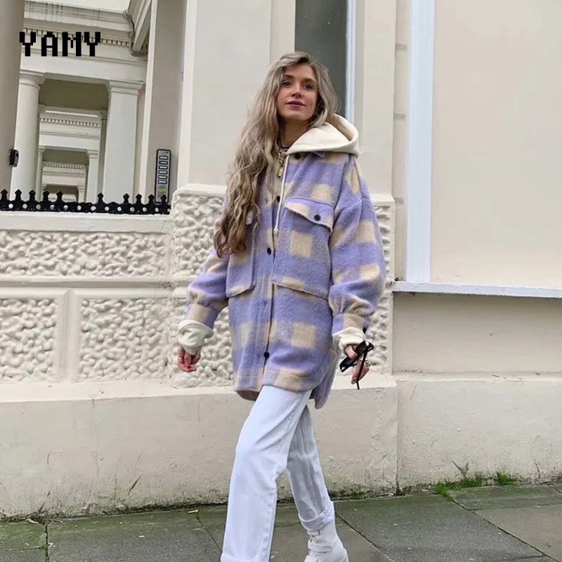 New purple oversized Womens coats and jackets long sleeve loose thick woolen Overshirt zoravicky Female Streetwear Outerwear