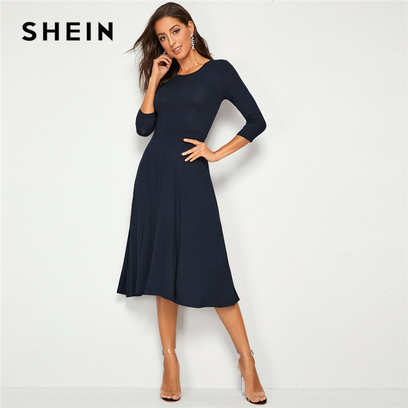 SHEIN Solid Fit And Flare A Line Stretchy Elegant Dress Women 2019 Autumn 3/4 Length Sleeve High Waist Ladies Midi Dresses