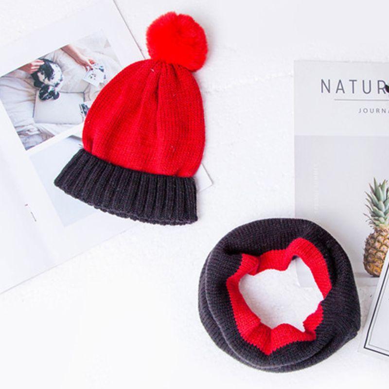 Kids Winter Pompom Contrast Color Beanie Hat + Infinity Scarf Set 3-13T
