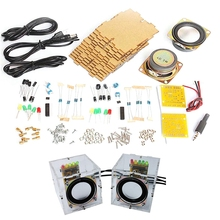 Diy Speaker Kit Sets with Case 3Wx2 Amplifier Speaker Electronic DIY Training Welding Assembly Parts