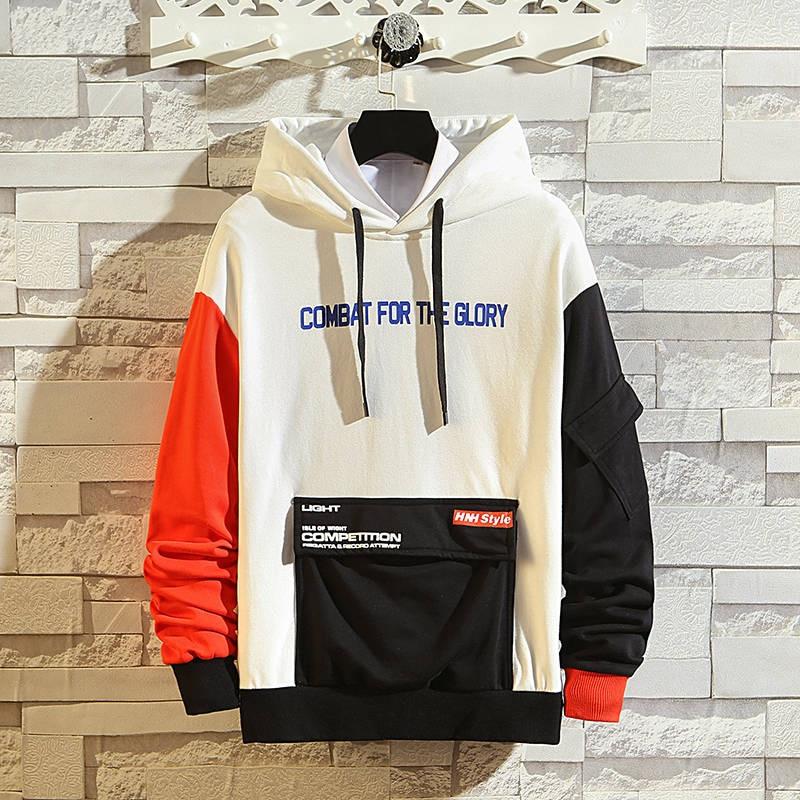 Men Japanese Streetwear Hip Hop Hoodies Autumn Korean Oversized Sweatshirts Hooded Hoodies Patchwork Clothing Fashion Coats