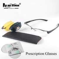 Customize Prescription Eyeglasses Half Rimless Glasses Fill Resin Lenses Myopia Spectacles Glasses Frame Clip on Sunglasses