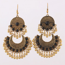Ethnic Turkish Indian Style Gold Silver Jhumka Resin Beaded Statement Long Earrings for Women Boho Party Gypsy Thailand Jewelry isola vintage resin beaded filled rhinestone soutache earring ethnic style statement boho earrings for traditional festival