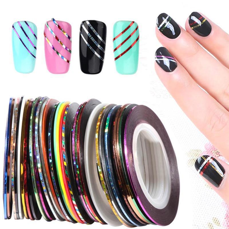Manicure Gold And Silver Line Nail Stickers Set Solid Color Laser Rainbow 30-Color Manicure Gold And Silver Line 3D Nail Sticker