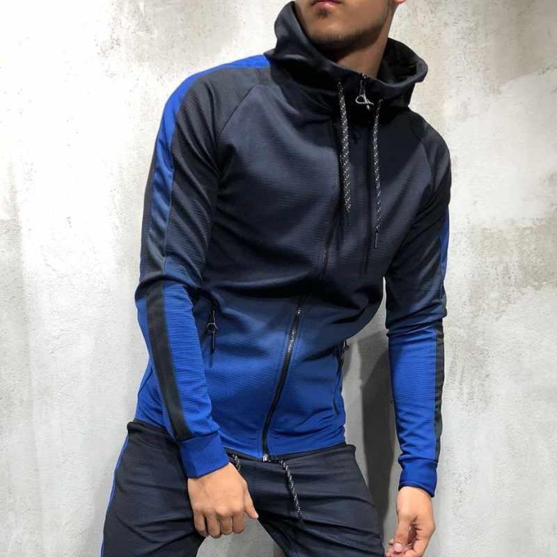 Zogaa Mannen Trainingspak 2 Delige Set 3D Gradiëntkleur Casual Hoodies Sweatshirt En Broek Sportkleding Joggers Mannen Sets Trainingspakken