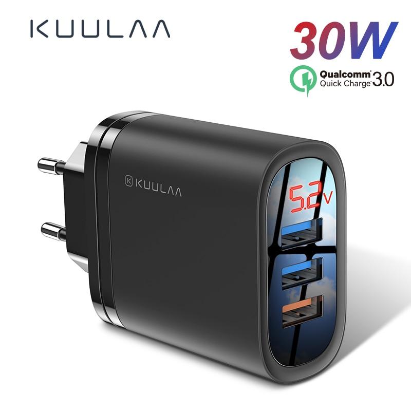 KUULAA szybkie ładowanie 3.0 ładowarka USB 30W QC3.0 QC szybkie ładowanie wielu wtyczek ładowarka do telefonu komórkowego dla iPhone Samsung Xiaomi Huawei