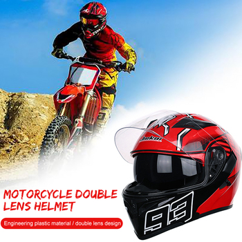 Helmet Motorbike Full-Face Full Face Motorcycle Helmet Universal Motorcycle Helmet Ramp Horn Plastic Red Ant Pratical