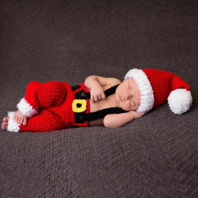 Newborn Infant Christmas Theme Photography Props Clothing Suspender Trousers+Hat European Children's Photographic Costumes 2