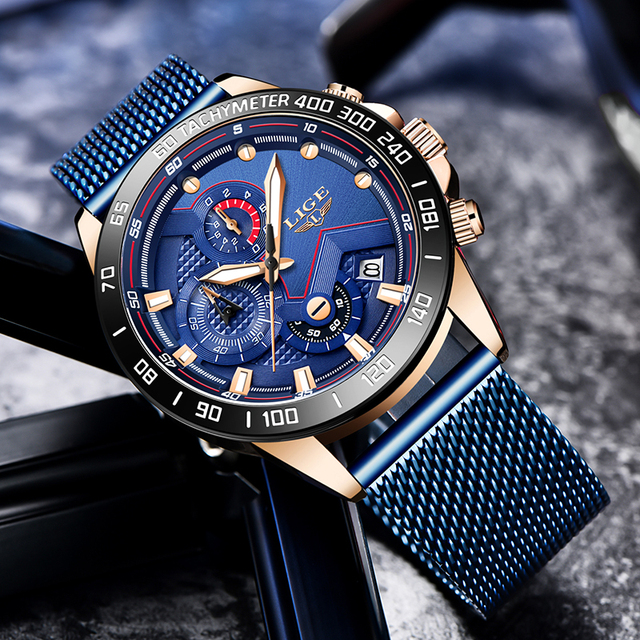 2019 New LIGE Blue Casual Mesh Belt Fashion Quartz Gold Watch Mens Watches Top Brand Luxury Waterproof Clock Relogio Masculino 2