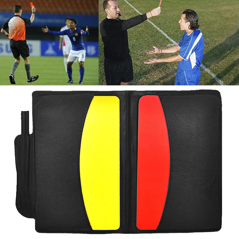 Yellow Red Card Booklet Sport Entertainment With Pencil 1 Set Soccer Equipment Football Referee Case Standard Bookings Game