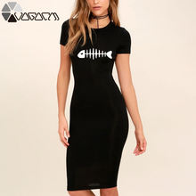 Женское облегающее платье kawaii рыбий скелет принт черное карандаш
