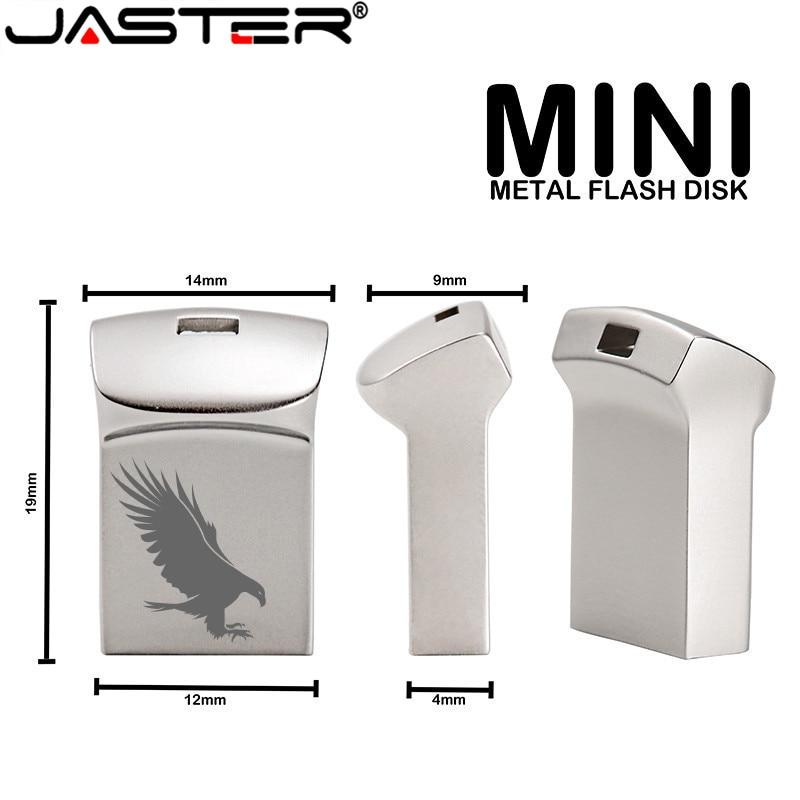 JASTER Silver Metal Mini Portable USB Super Micro Pen Drive 128GB 32GB 16GB 8GB 4GB Black Waterproof External Storage