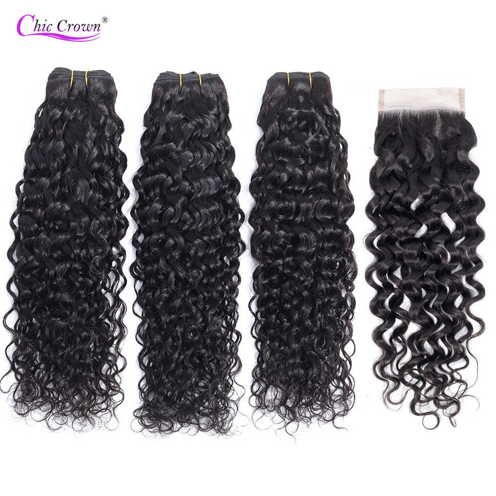 Water Wave Bundles With Closure 4 pc/lot Burmese Hair Weave Bundles With Closure Remy Human Hair Chic Crown Water Wave Hair