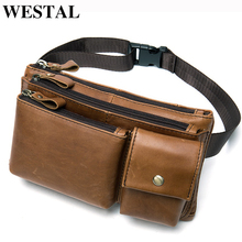 WESTAL genuine leather men's waist bag belt bags for men's fanny chest pack for men's clutch bag messenger belt hip bag 8798