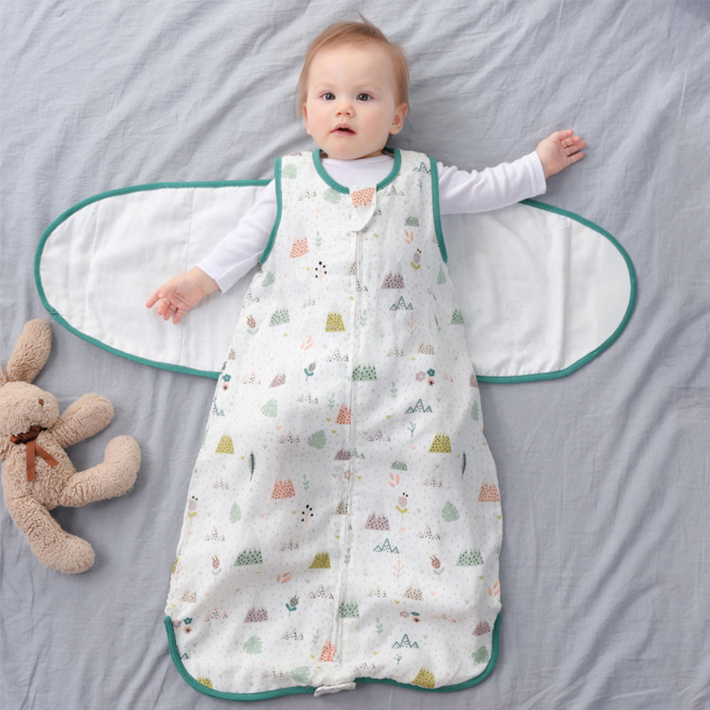 Baby Sleeping Bag Wearable Blanket Newborn Swaddle Wrap Sack Gauze Bamboo Cotton Spring 1Tog Sleep Bag Changing Diaper 0-24M