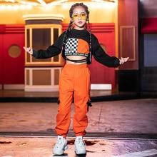 Костюмы в стиле хип-хоп для девочек; одежда для уличных танцев; оранжевые брюки; детская современная одежда для сцены; детская одежда для Черлидинга; DN4097