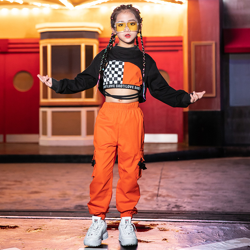 Hip Hop Costumes Girls Street Dance Clothes Orange Pants Kids Modern Stage Performance Wear Children Cheerleading Outfit DN4097