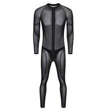 Seksi erkek artı boyutu örgü şeffaf seksi sıkı See Through Patchwork tam Bodysuit seksi iç çamaşırı tulum eşcinsel giyim erotik iç çamaşırı d50