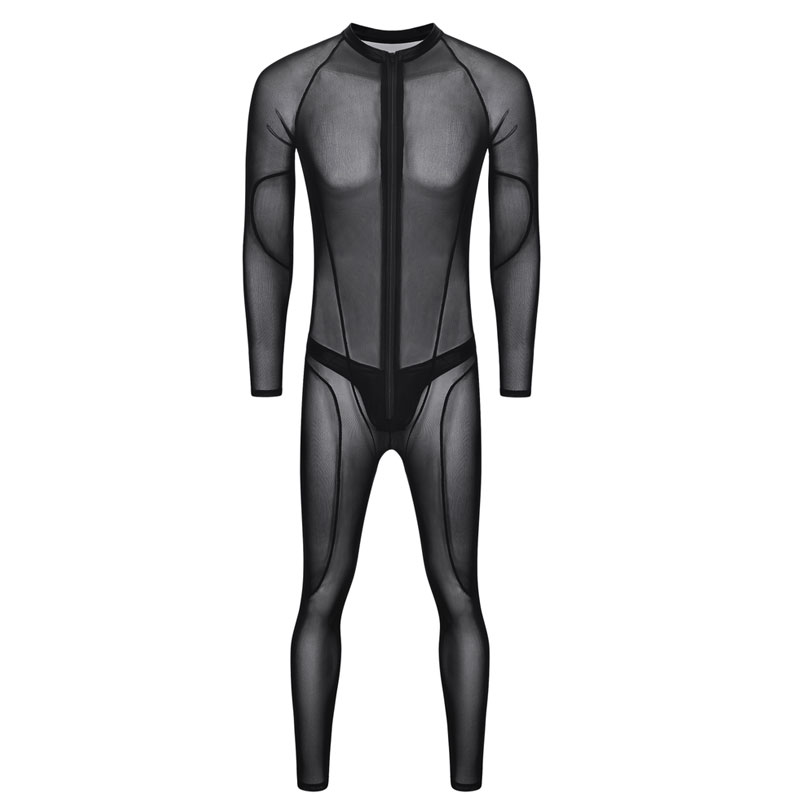 Sexy Men Plus Size Mesh Sheer Sexy Tight See Through Patchwork Full Bodysuit Sexy Lingerie Playsuit Gay Wear Erotic Lingerie D50