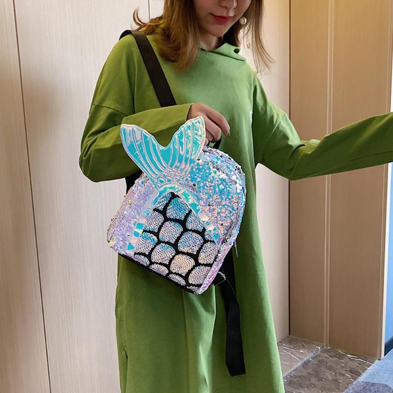 3-Милый мультфильм блёстки рюкзак рыбий хвост Женская сумка Kawaii девушки школьный ранец на молнии путешествия большой емкости сумки на плечо ... смотреть на Алиэкспресс Иркутск в рублях