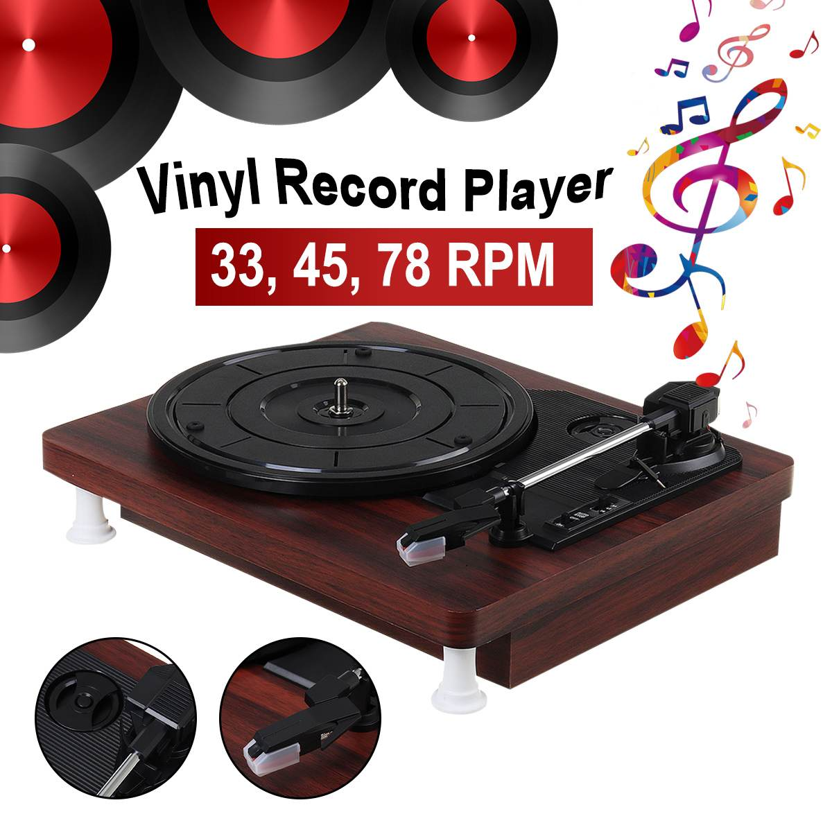 Retro Player Stereo 33 45 78 RPM LP Three Speed Vinyl Record Turntable Player Gramophone RCA R/L PH 2.0 Stereo
