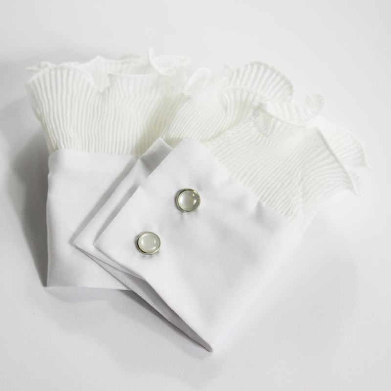 THINKTHENDO 1Pair Wrinkled Flare Fake Sleeve Soft Chiffon False Wrist Cuffs With Buttons