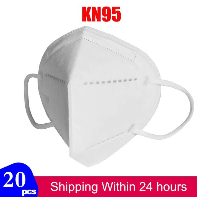 20pcs KN95 Mask Protective Dust Face Mask Flu Pm2.5 Filter Masks N95 Mask Respirator Antivirus Mask