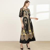 Autumn Fashion designer Runway Dress puff sleeve Women Vintage Gauze skirt Embroidered flowerDress