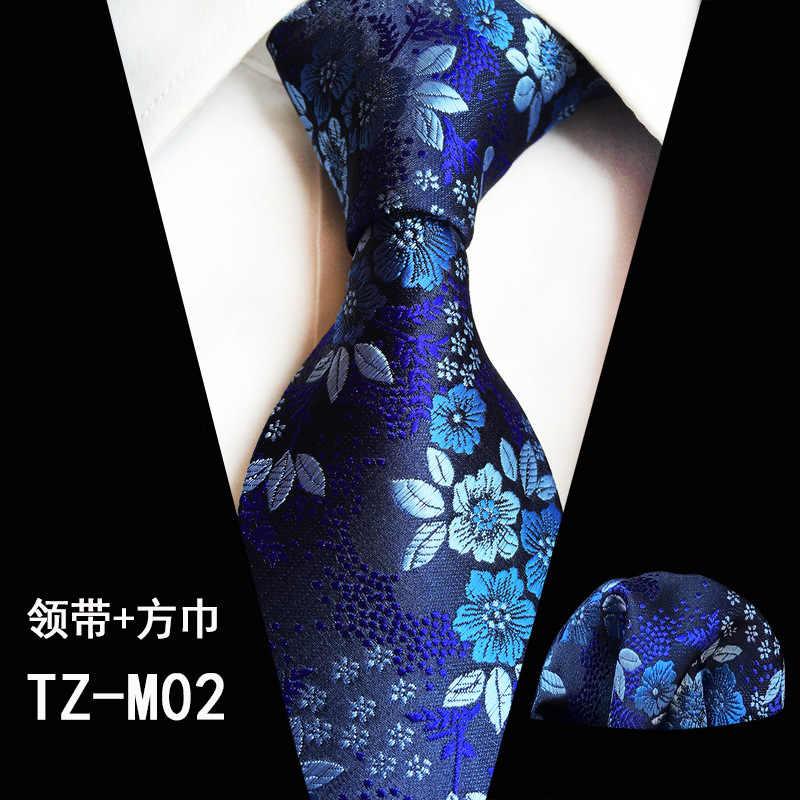 Floral Blue Purple Green White Red Silk Tie Set Men/'s Necktie Pocket Square A071