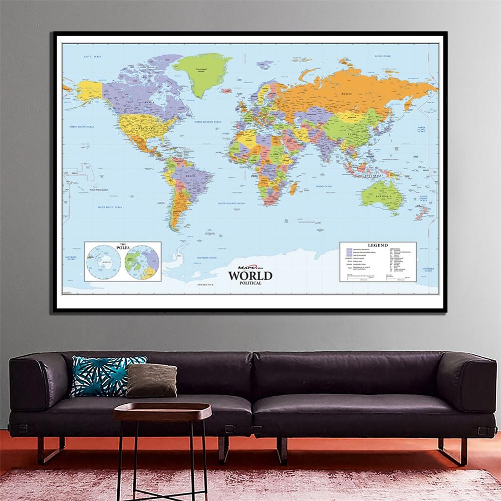 The World Political Map HD World Decoration Map Fine Canvas Spray Painting For School/Office Wall Decor
