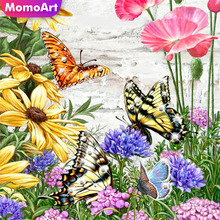 MomoArt Full Drill Square Diamond Painting Flowers Embroidery Butterfly Diamond Cross Stitch Home Decoration Gift momoart 5d full drill square diamond painting flowers diy diamond embroidery daisy cross stitch home decoration gift