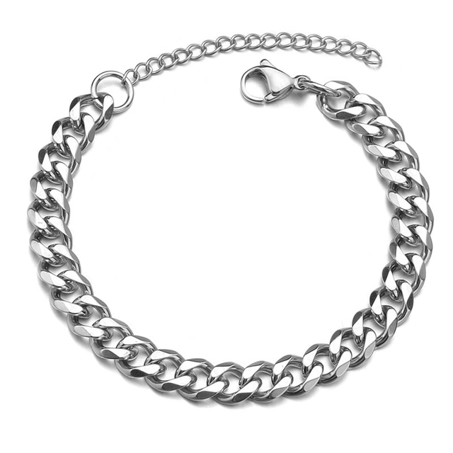 High Quality Stainless Steel Bracelets For Men Blank Color Punk Curb Cuban Link Chain Bracelets On the Hand Jewelry Gifts trend 3