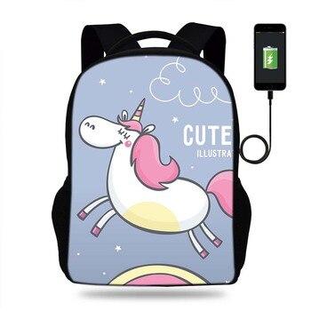 17 inç Mochila Sevimli Hayvan Unicorn Sırt Çantası Bayan USB PORTU Sırt Çantaları Genç Kızlar Için Okul Çantaları Laptop Günlük Sırt Çantaları