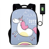 17inch Mochila Cute Animal Unicorn Backpack Womens USB PORT Backpacks For Teenager Girls School Bags Laptop Daily Backpacks