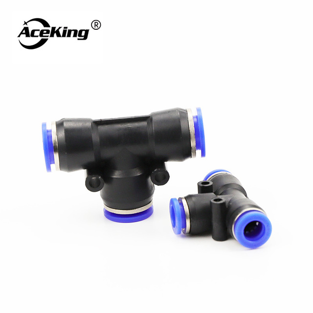 PE 3Way T shaped Tee Pneumatic 10mm 8mm 12mm 6mm 4mm 16mm OD Hose Tube Push In Air Gas Fitting Quick Fittings Connector Adapters